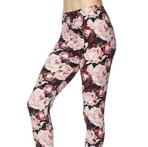 Floral on black leggings